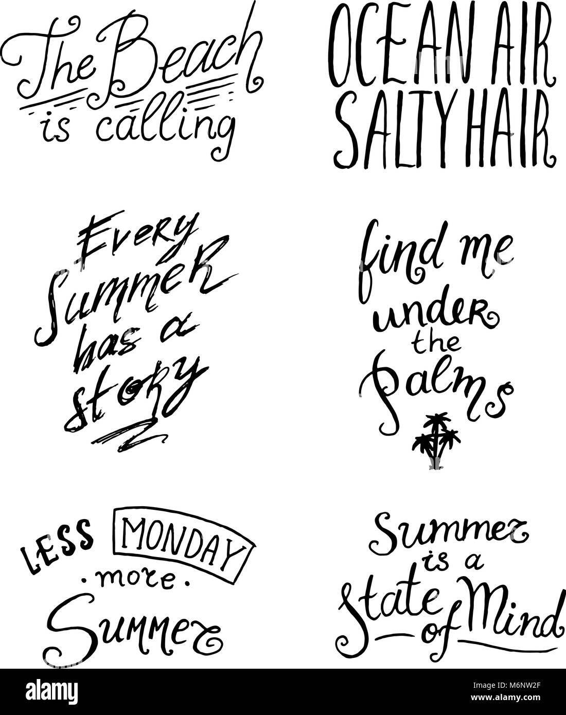 Summer Quotes Inspiration Travel And Journey Phrases Calligraphy Vector Illustration Hand Drawn Lettering Set Of Holidays Tropical Vacation