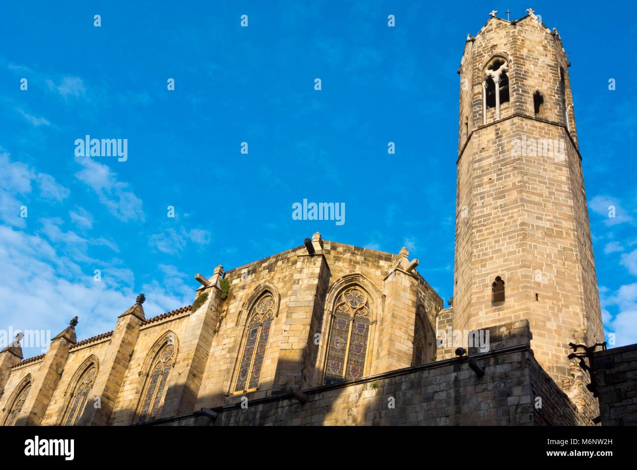 Capella de Santa Agueda, Chapel Santa Agada, St Agnes, Placa del Rei, Barri Gotic, Barcelona, Catalonia, Spain - Stock Image