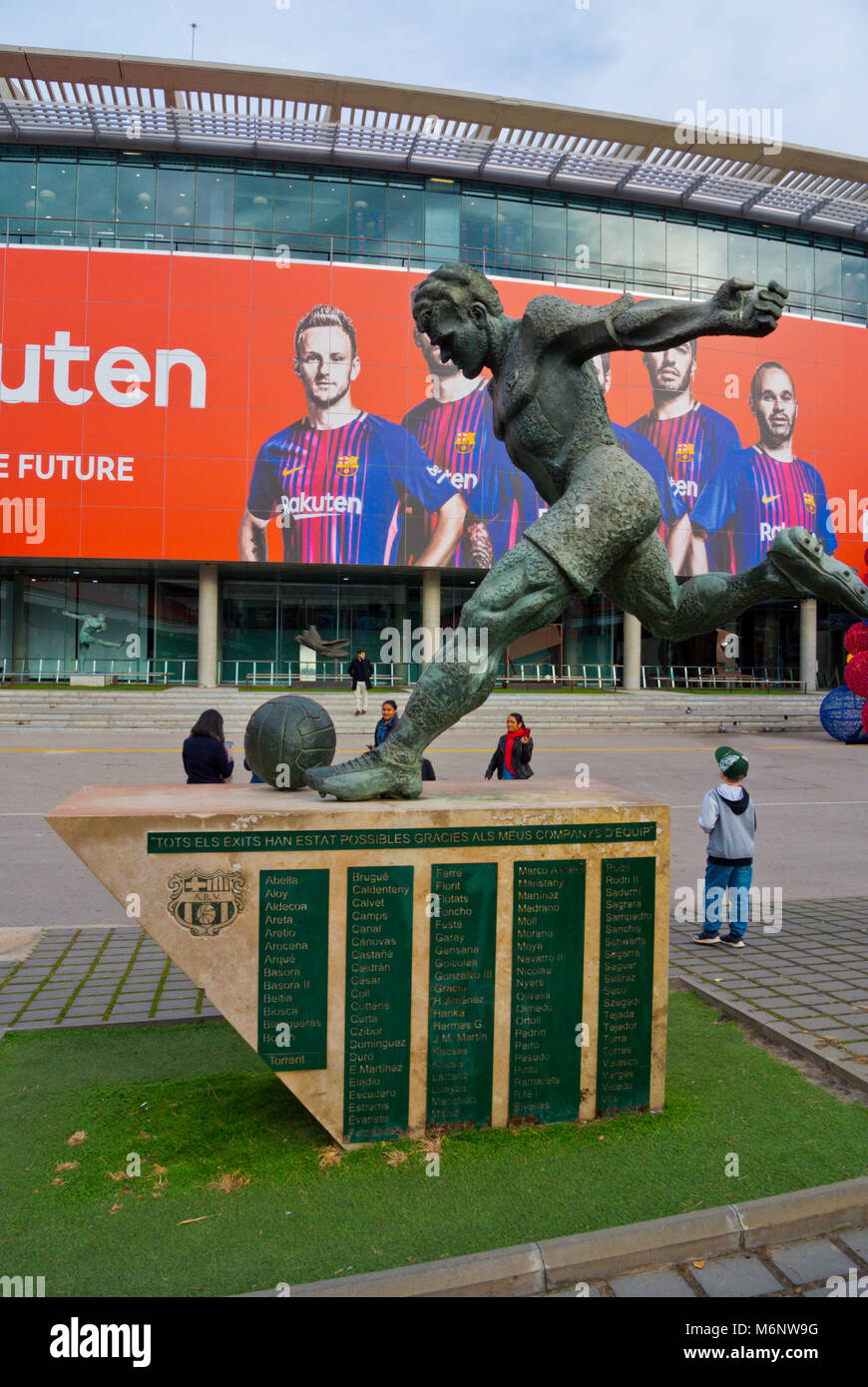 Laszlo Kubala memorial, in front of the football Stadium, Camp Nou, Barcelona, Catalonia, Spain - Stock Image