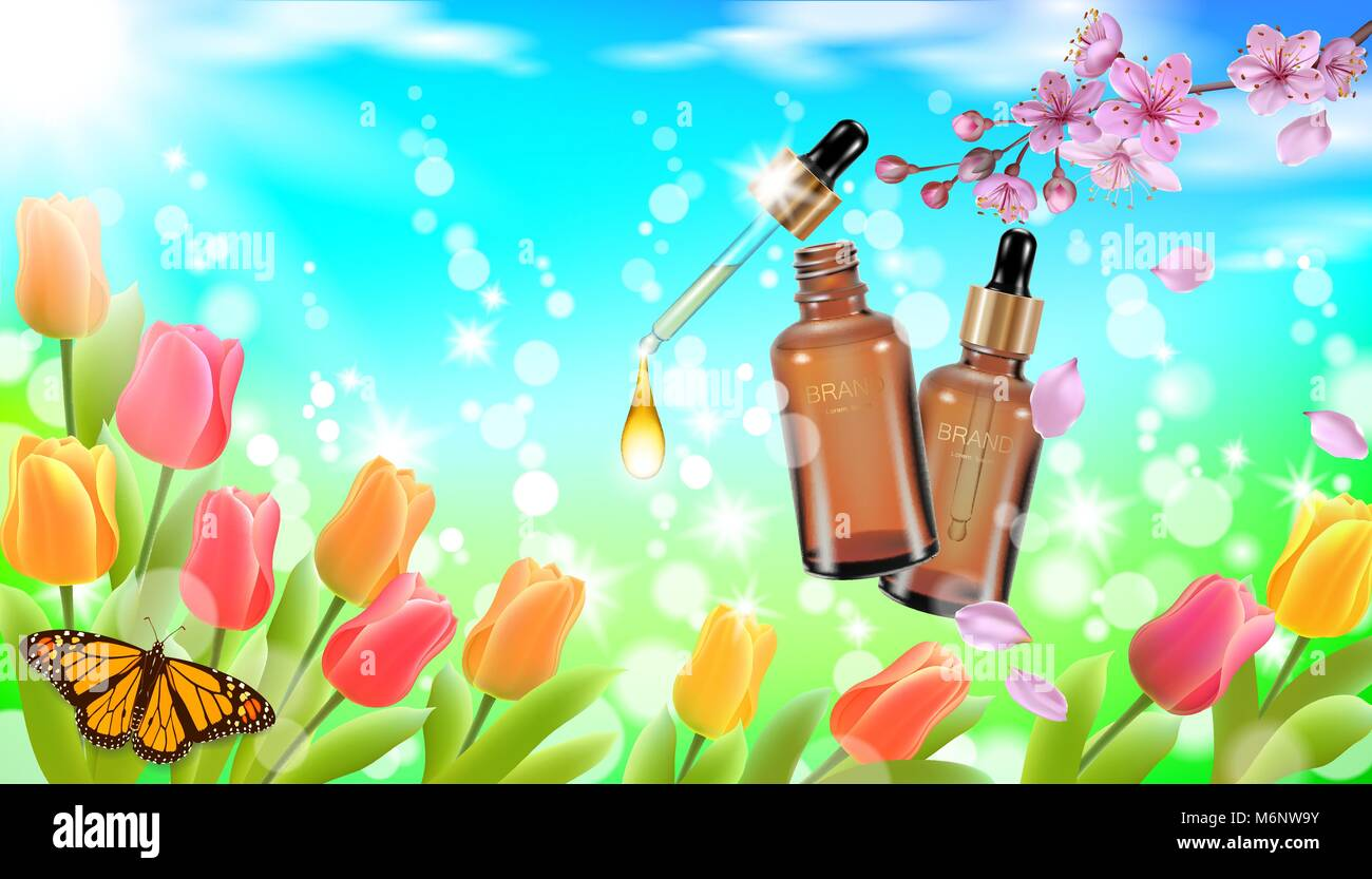 green grass blue sky flowers garden realistic cosmetic bottle spring landscape green grass blue sky light background tulip flower butterfly sakura cherry blossom 3d medicine drug allergy