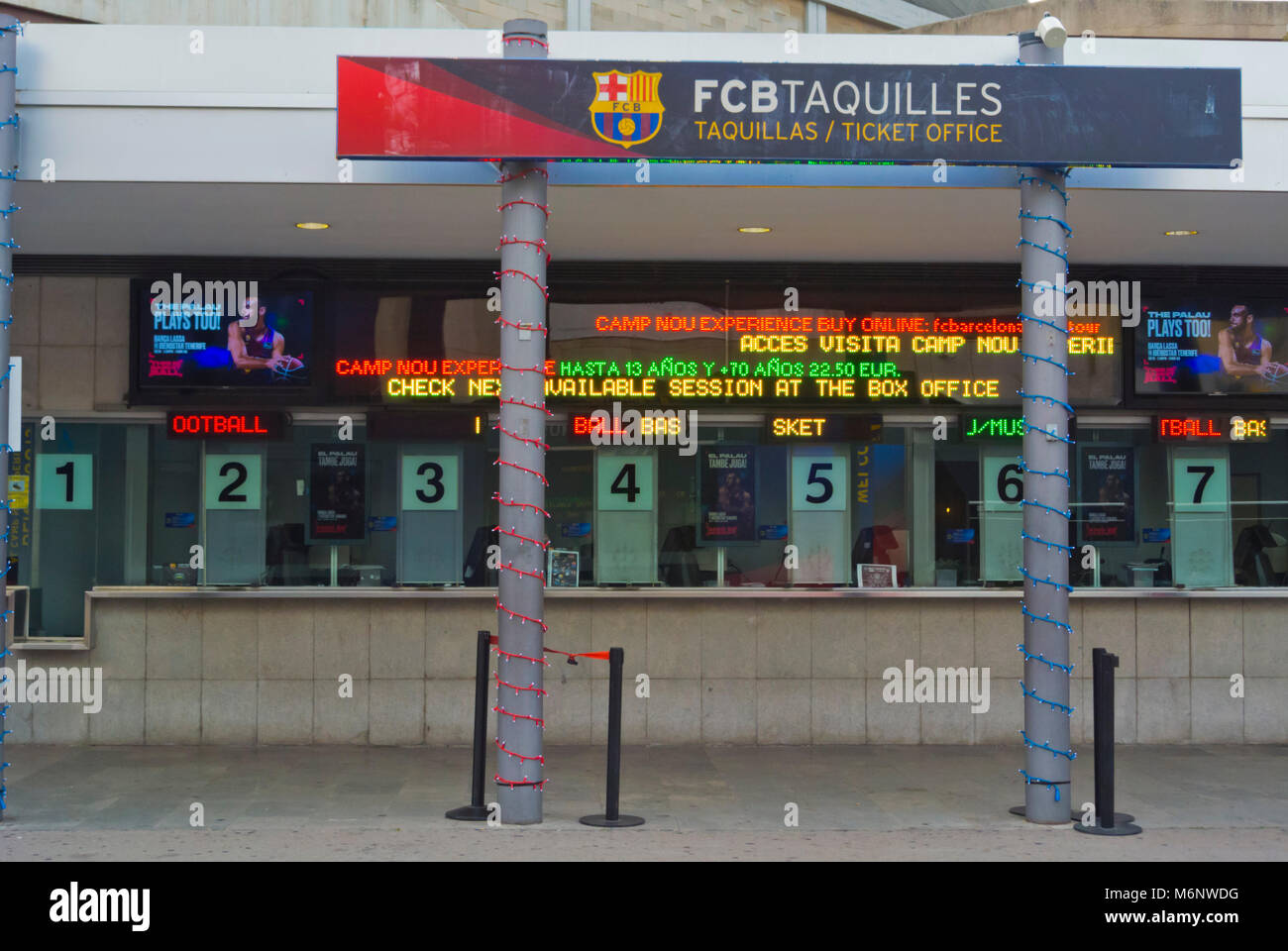 Box office, ticket office, for different sports, Camp Nou, Barcelona, Catalonia, Spain - Stock Image
