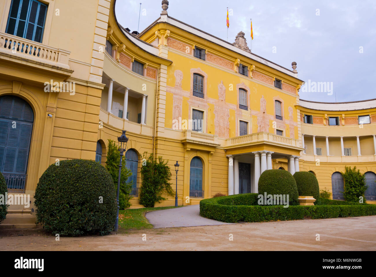 Palau Reial de Pedralbes, Parc de Pedralbes, Barcelona, Catalonia, Spain - Stock Image