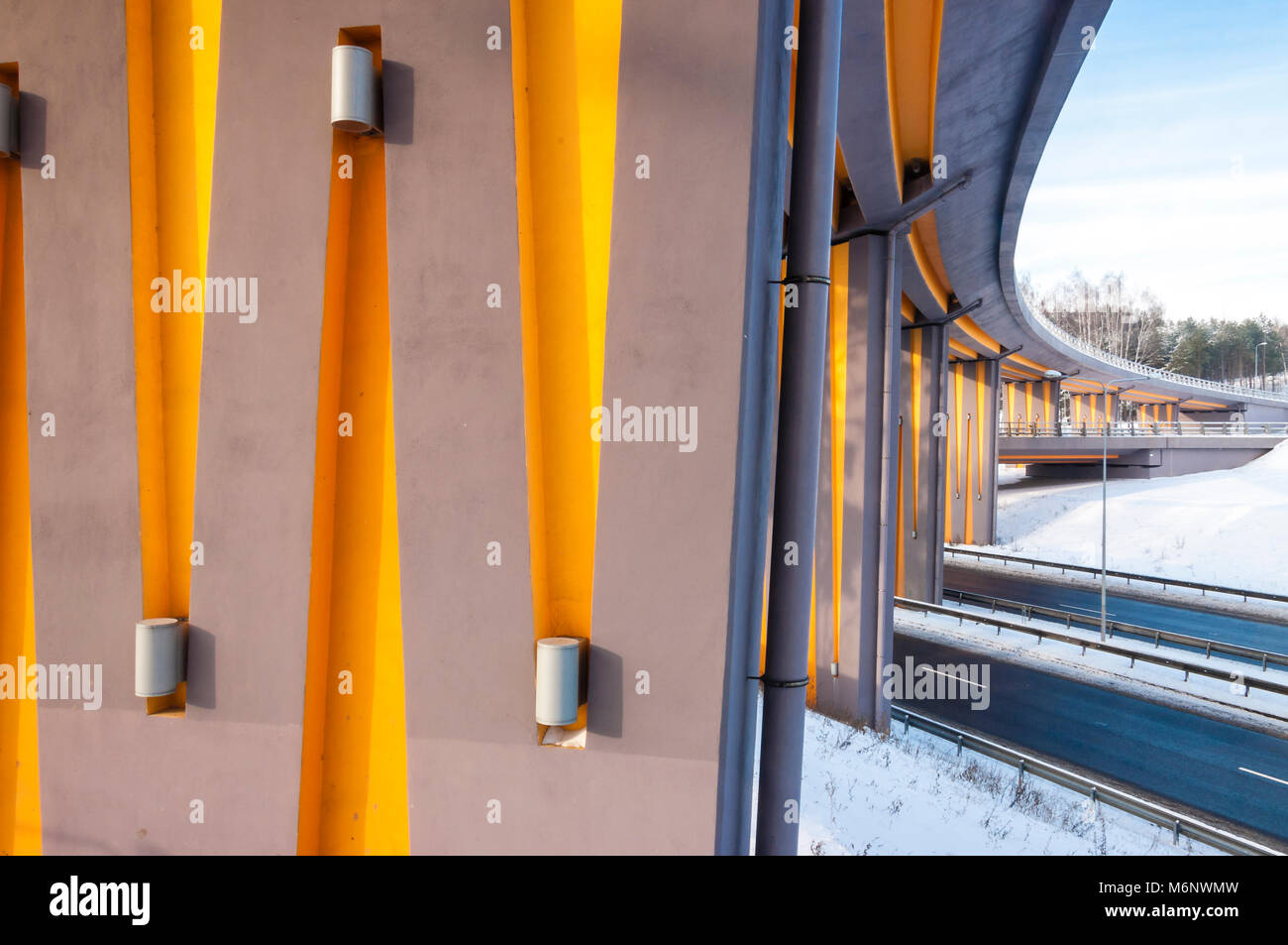 Highway bridge light and architecture lines, perspectives at winter - Stock Image