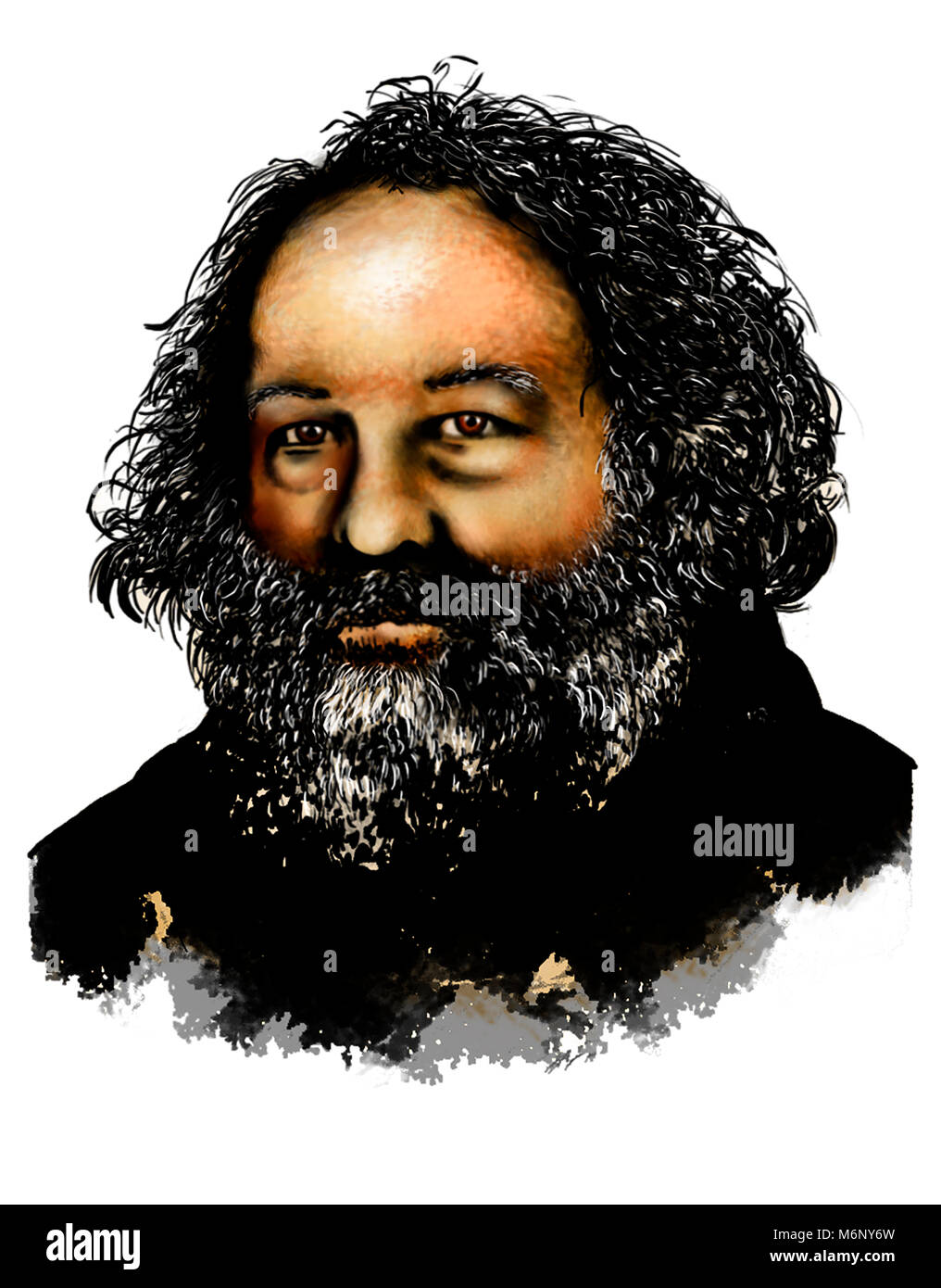 Drawing of Mikhail Bakunin. (1814 –1876) He was a Russian revolutionary anarchist and founder of collectivist anarchism. - Stock Image