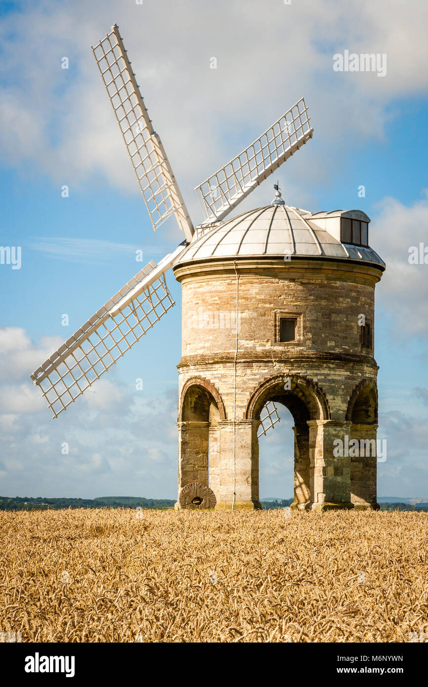 The unique arched stone tower of Chesterton windmill in a field of golden corn on a sunny summer day - Warwickshire - Stock Image