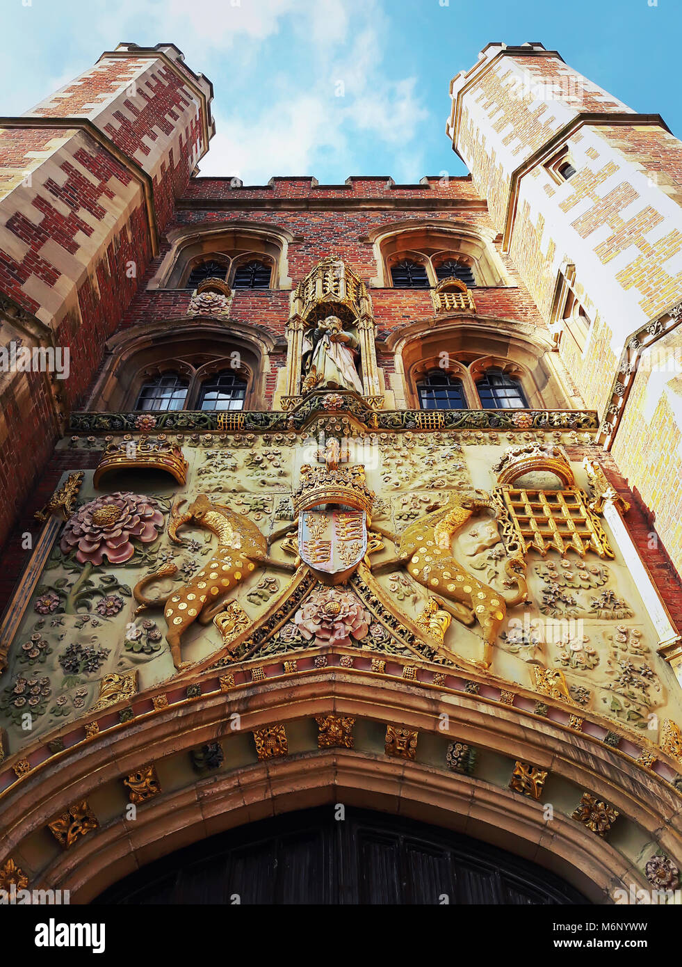 The decorated facade of the gatehouse at St Johns College in Cambridge, UK. Stock Photo