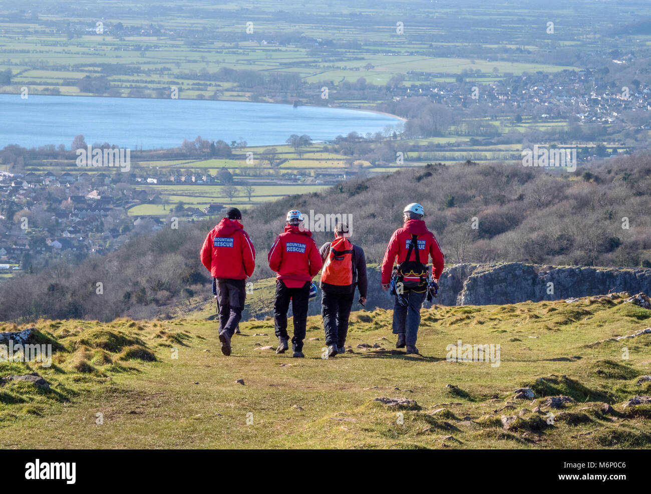 Men from the Avon and Somerset Search and Rescue team heading to a training exercise in the Cheddar Gorge on the - Stock Image