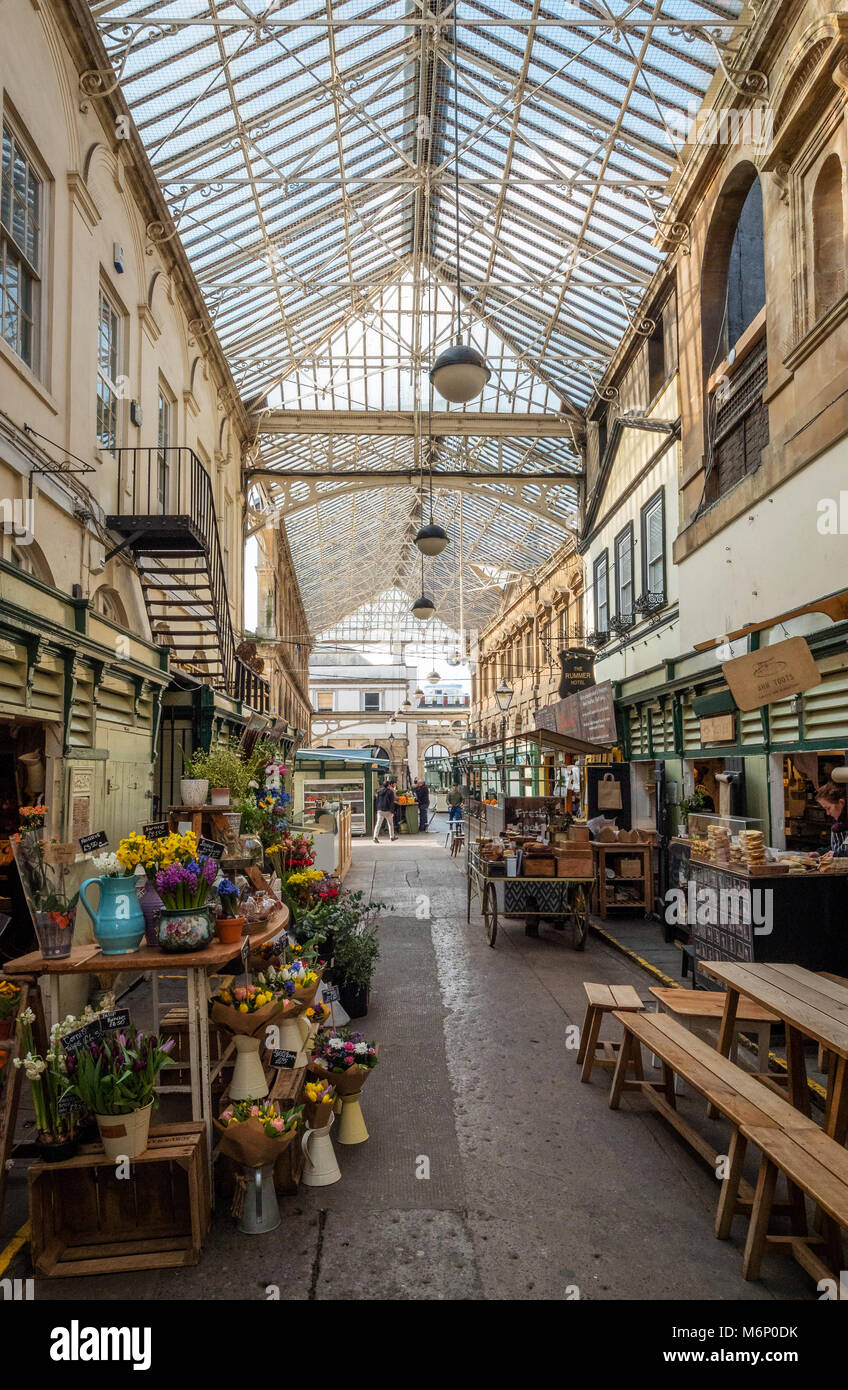 Early morning at St Nicholas Market in Bristol's old city quarter a thriving assortment of small independent - Stock Image