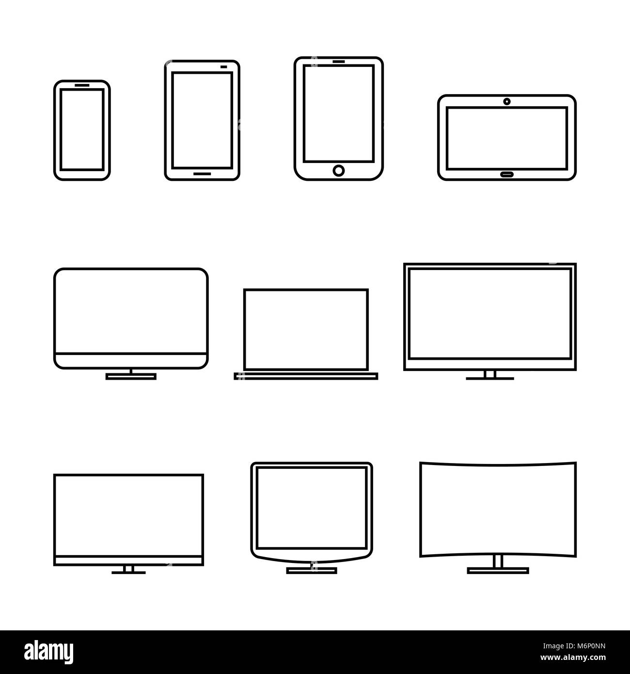 Set of computer monitors, laptop, e-book, tablets and mobile phones from thin lines. Electronic gadgets isolated Stock Vector