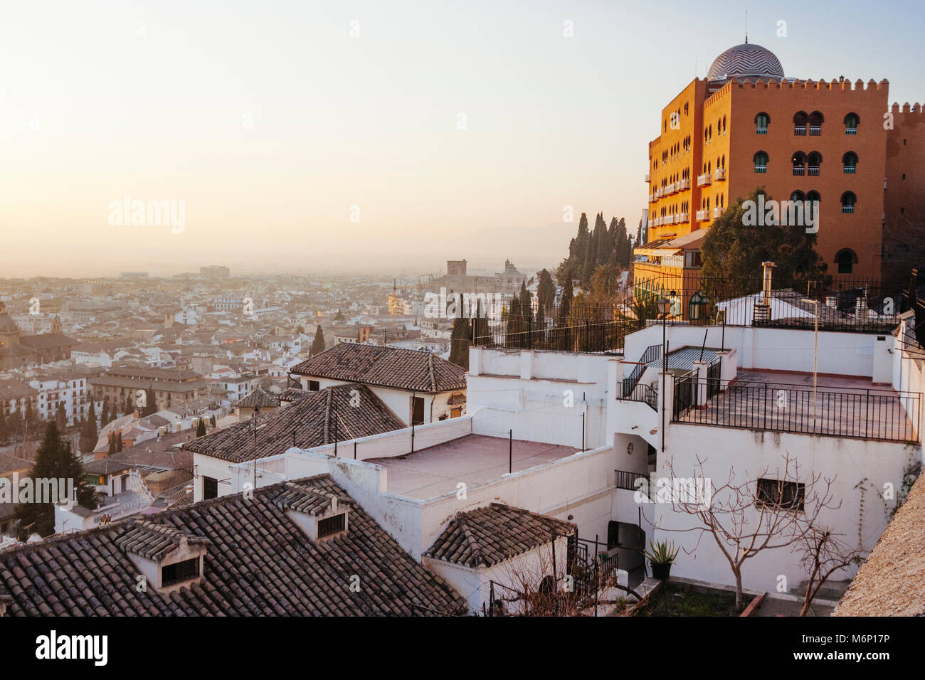 Granada, Andalusia, Spain. Neo Arab style Alhambra Palace Hotel (1910) in the Realejo district, the oldest five - Stock Image