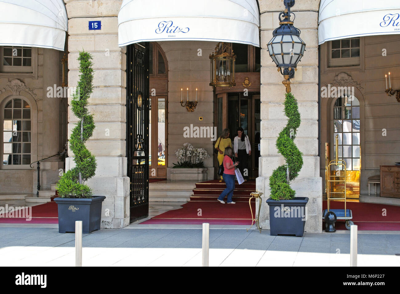 Paris, France, June 22: The facade of the Ritz hotel with the front door and the red carpet, June 22, 2012 in Paris. - Stock Image