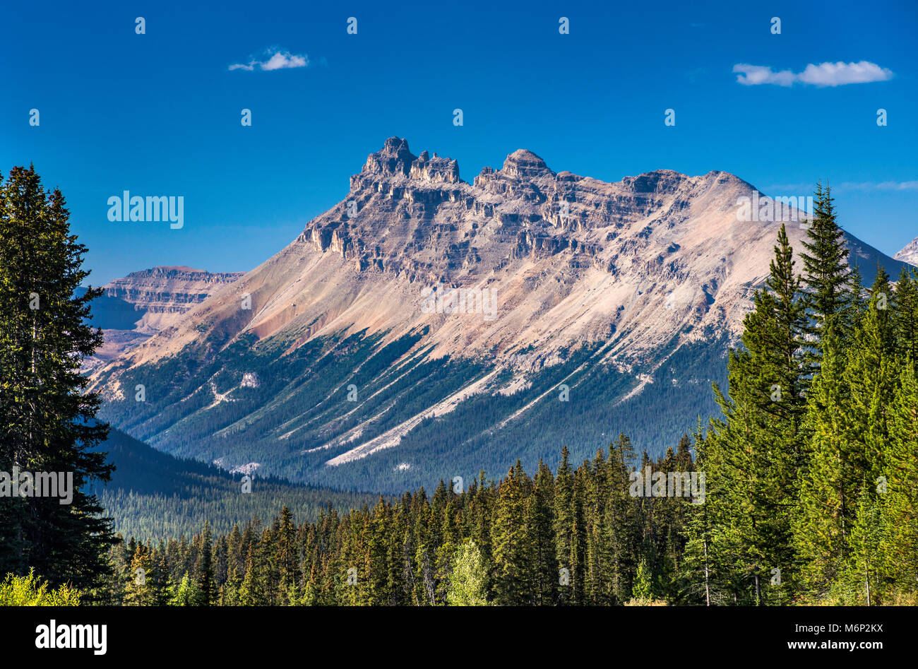 Dolomite Peak, Park Ranges aka Main Ranges of Canadian Rockies, from The Icefields Parkway, Banff National Park, - Stock Image