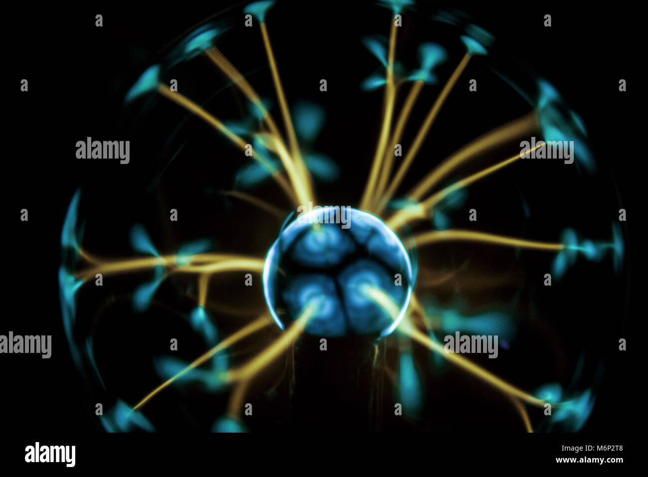Electricity fire-ball. Abstract photo of electric waves. Static electricity Stock Photo