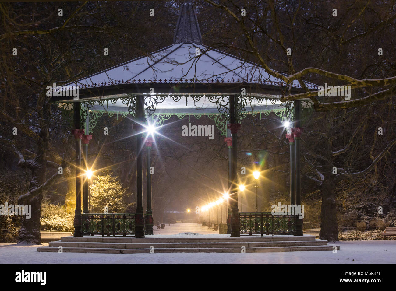 Battersea Park Bandstand at night in the winter - Stock Image