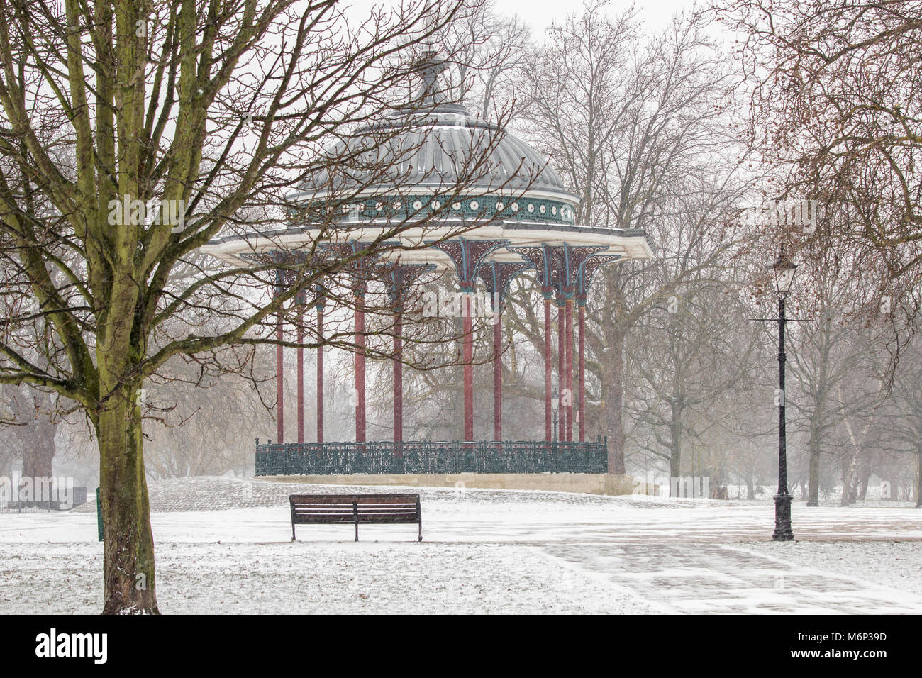Clapham Common Bandstand in winter - Stock Image