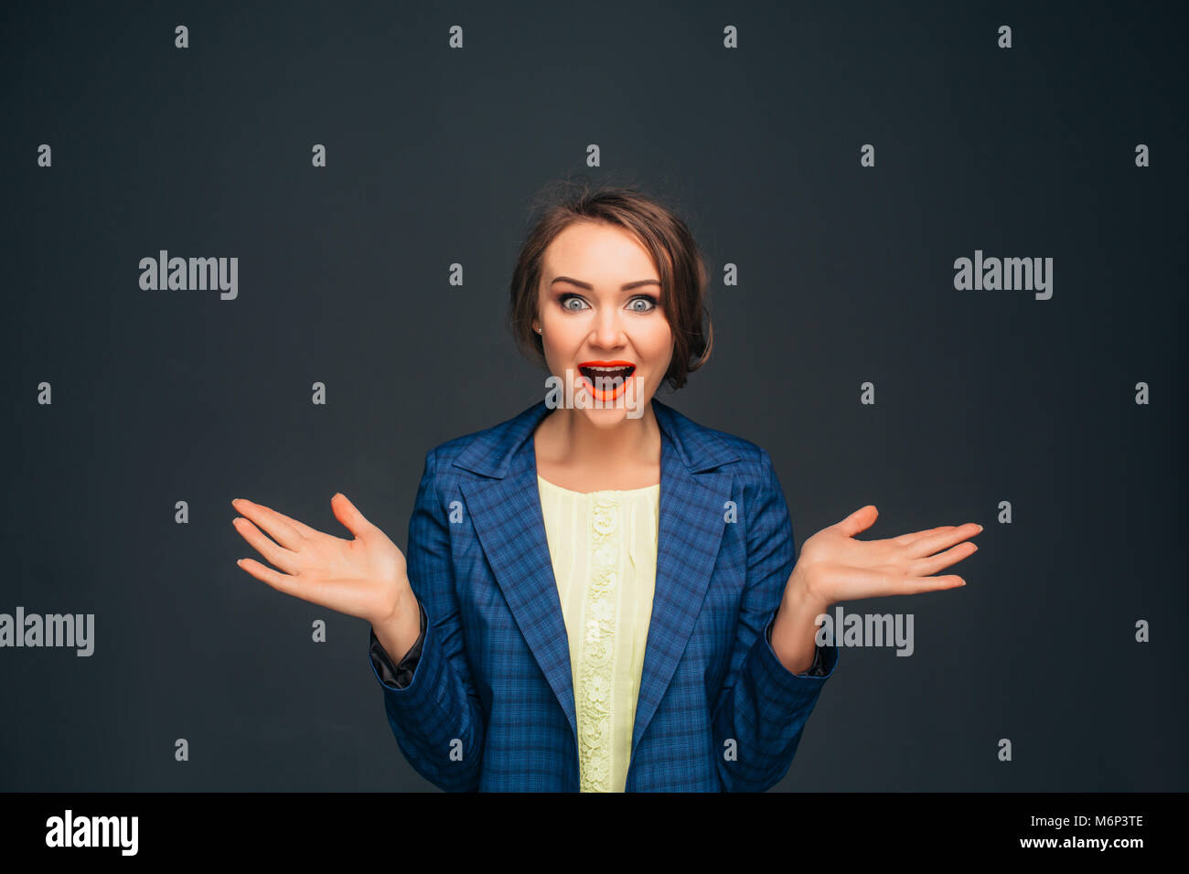 business woman - amazing facial expression - Stock Image