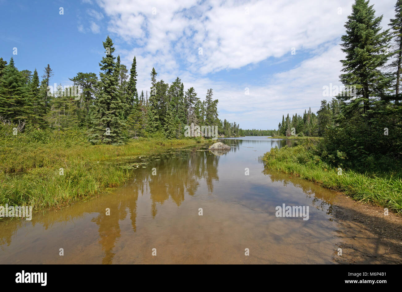 Calm Waters on a Quiet Inlet on Missing Link Lake in The Boundary Waters of Minnesota - Stock Image