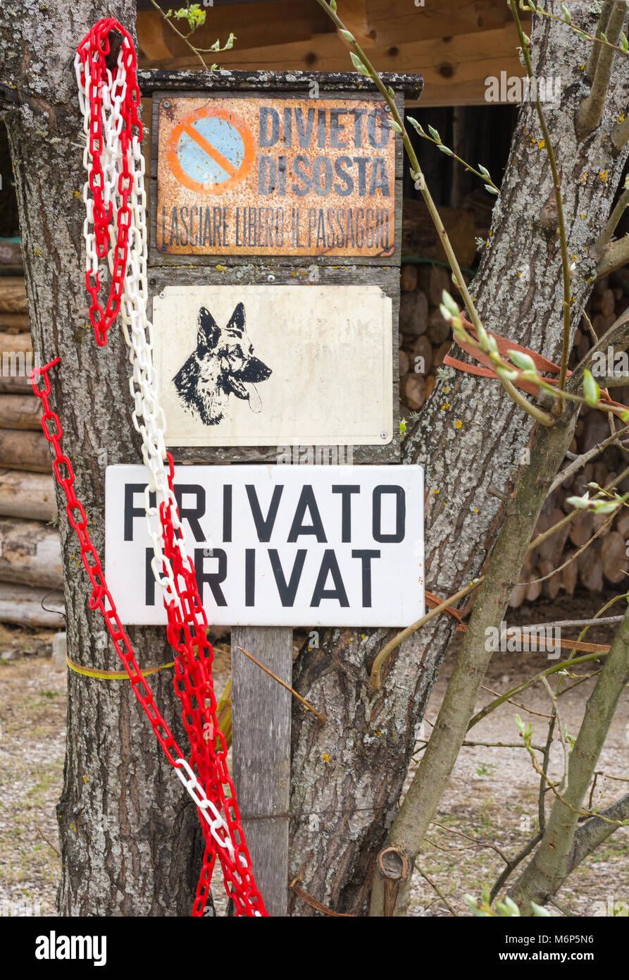 View of an Old Weathered 'Private' Sign. various old signs of ...