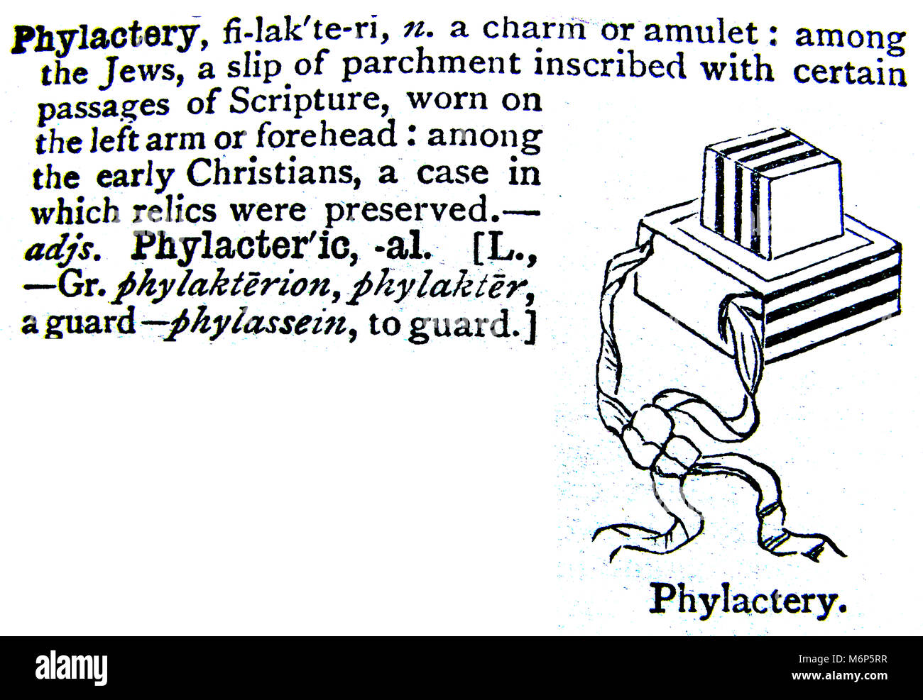 An entry from from Chamber's 20th century Dictionary - UK - circa 1920-  Phylactery Jewish amulet charm - Stock Image