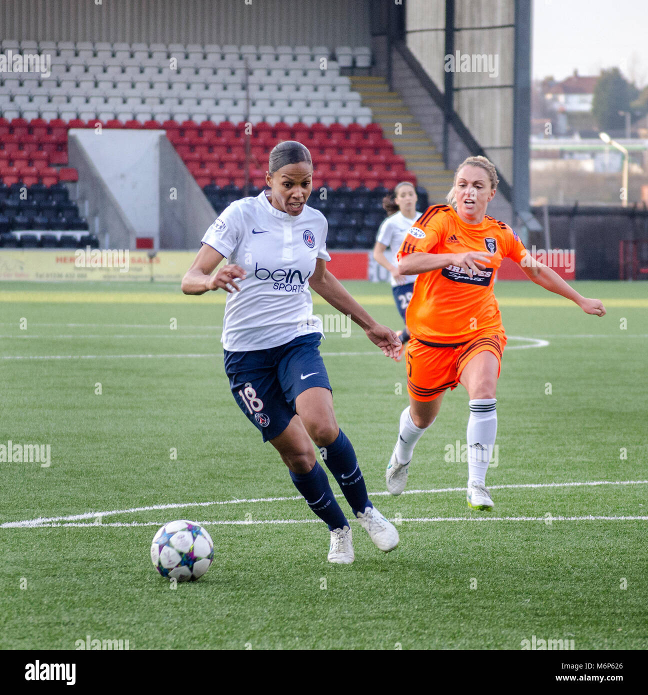 AIRDRIE, SCOTLAND - MARCH 22nd 2015: PSG's Marie-Laure Delie running towards the Glasgow city goals with a Glasgow - Stock Image