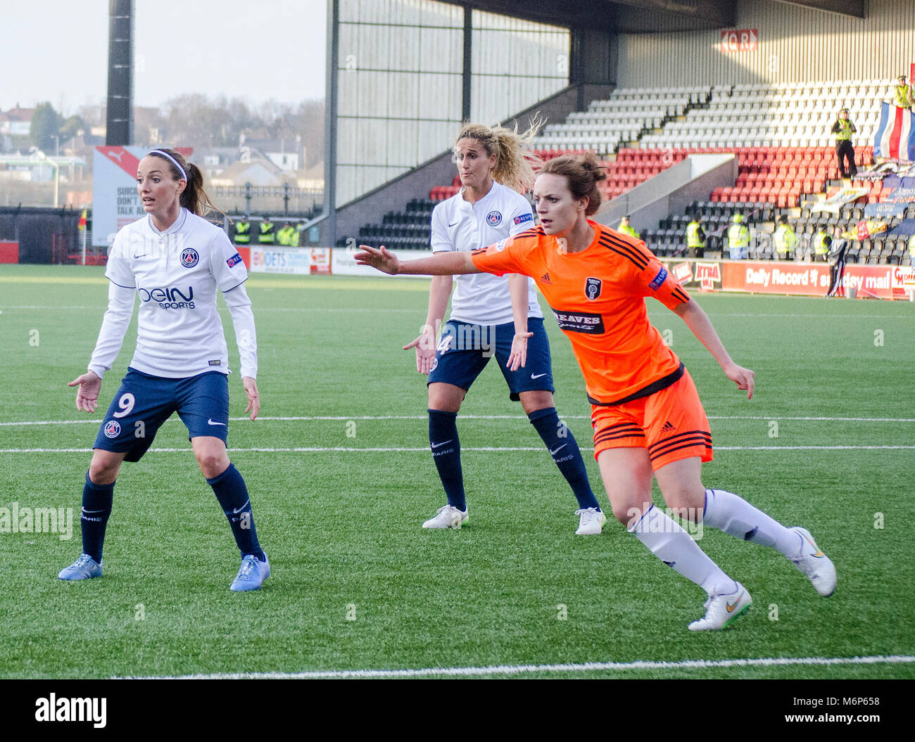 AIRDRIE, SCOTLAND - MARCH 22nd 2015: PSG's players, Kosovare Asllani and Kheira Hamraoui waiting for the ball - Stock Image