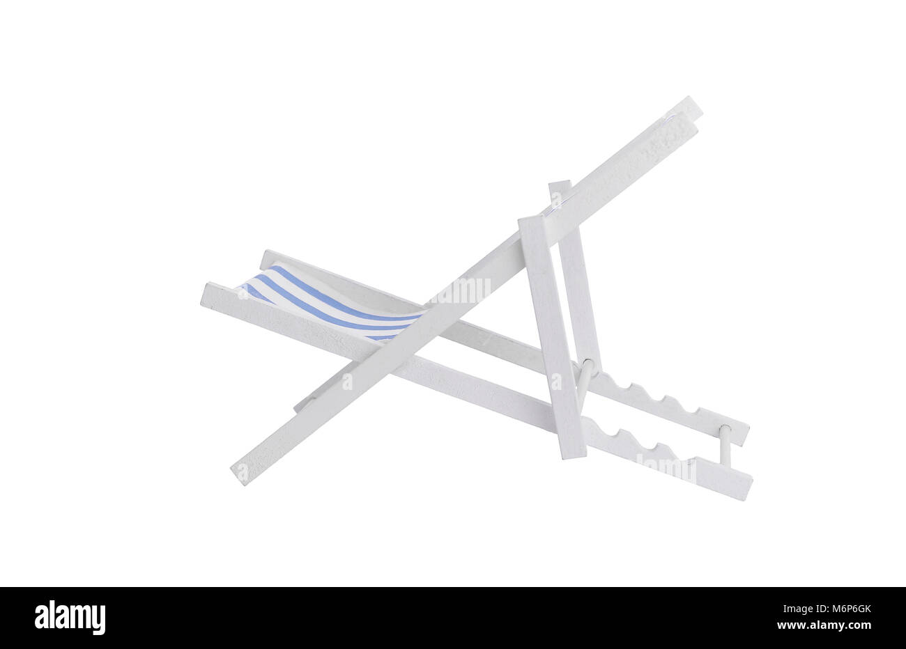 Deckchair on a white background. - Stock Image