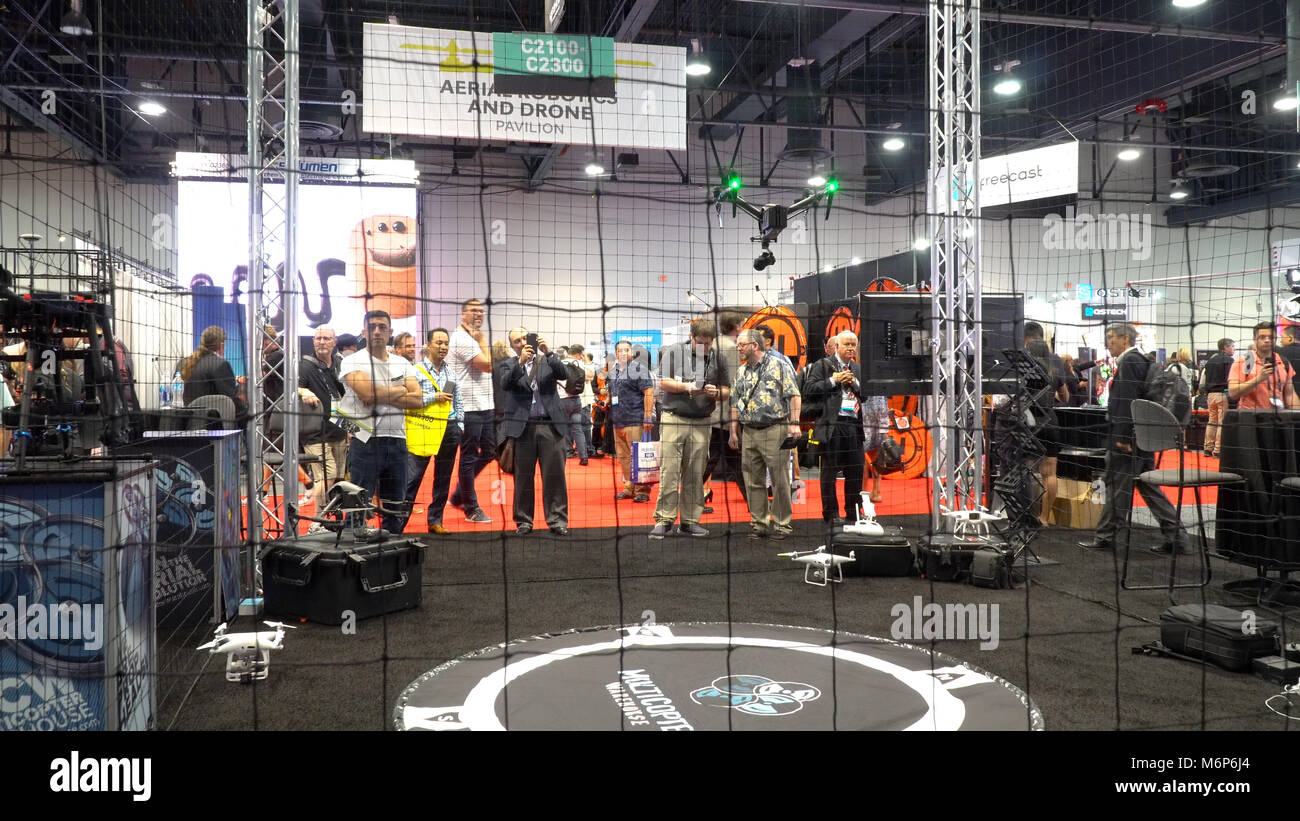 Las Vegas, USA - Circa 2017: Drone cage demonstration at NAB show convention center trade show in Vegas. National Stock Photo