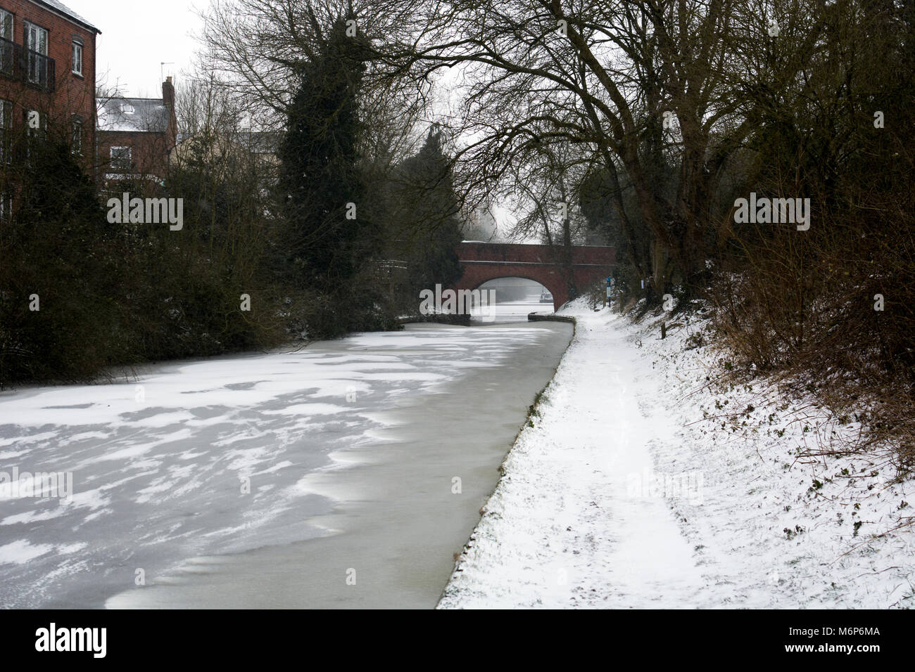 Frozen Grand Union Canal and snowy towpath, Warwick, Warwickshire, England, UK - Stock Image