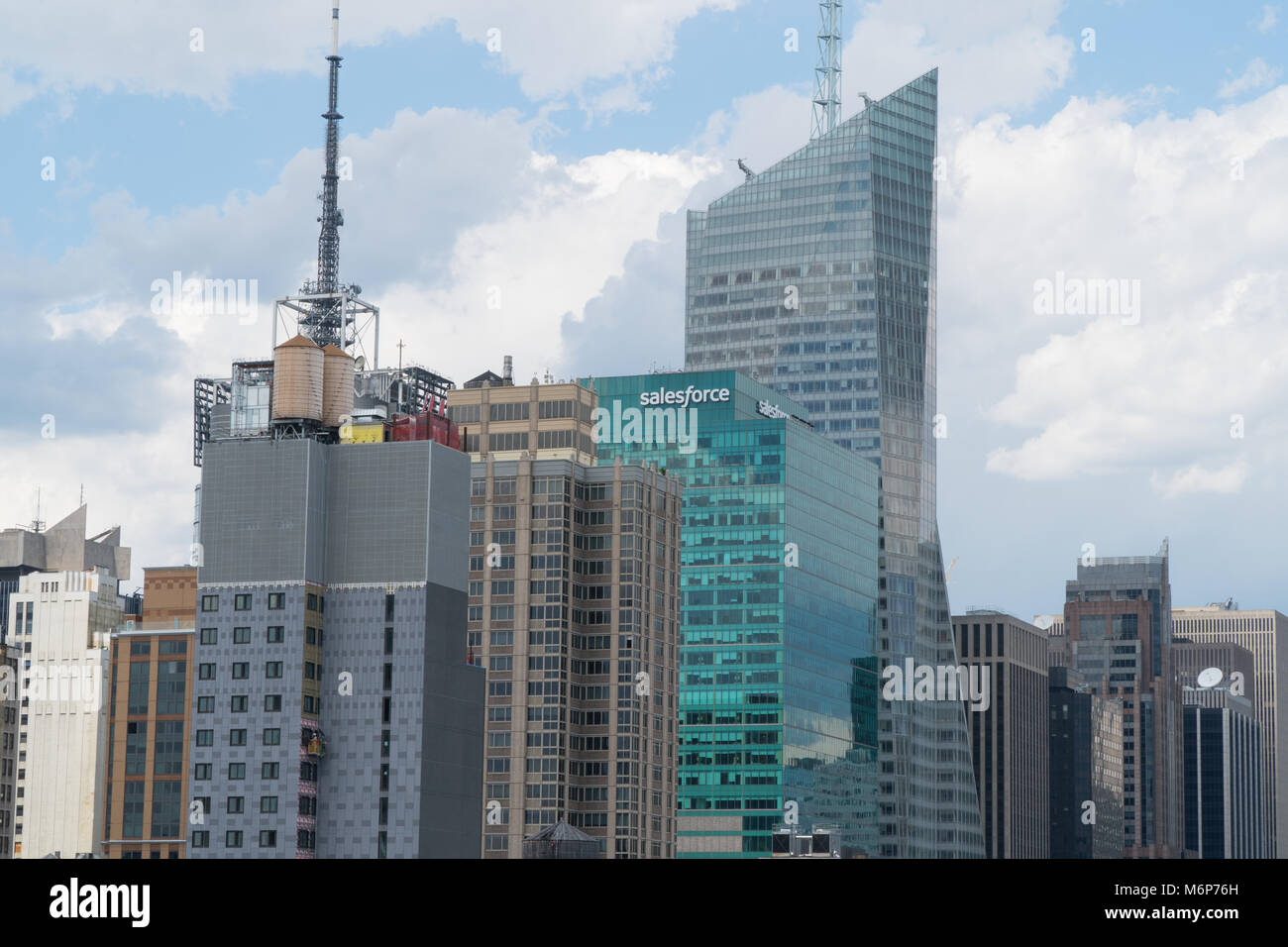 New York City, Circa 2017: Salesforce building in midtown Manhattan skyline adjacent to Bank of America Tower. Former - Stock Image