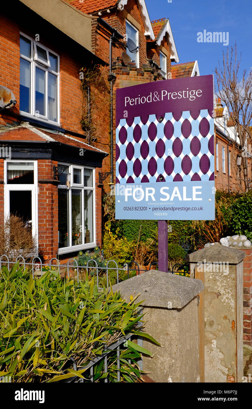 large victorian terraced house for sale, sheringham, north norfolk, england - Stock Image