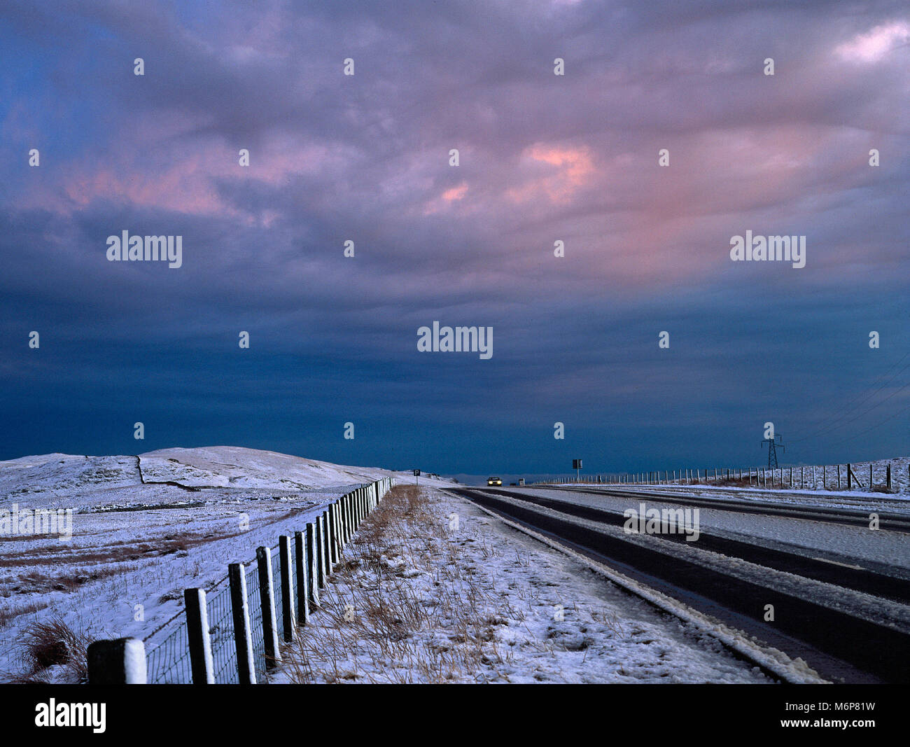 On the A6 road near Shap, Cumbria, once a notorious stretch but now all but deserted since the M6 was completed - Stock Image