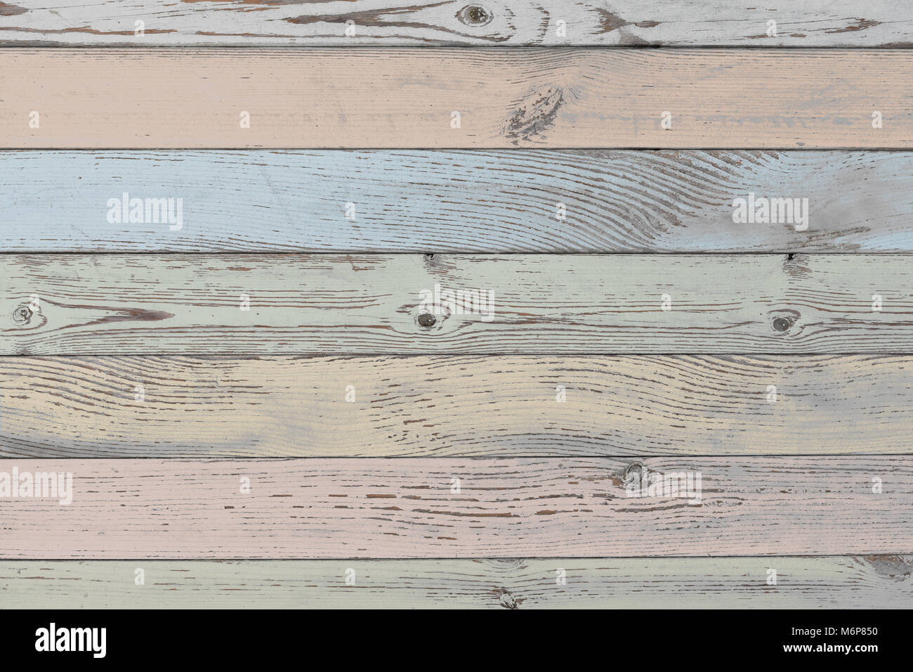 wood planks background or texture with pastel color planks - Stock Image