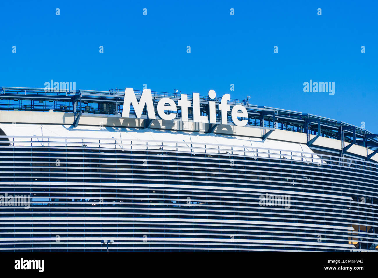 New Jersey, Circa 2017: Metlife Stadium sign building sponsor advertisement outside facade football arena for New - Stock Image