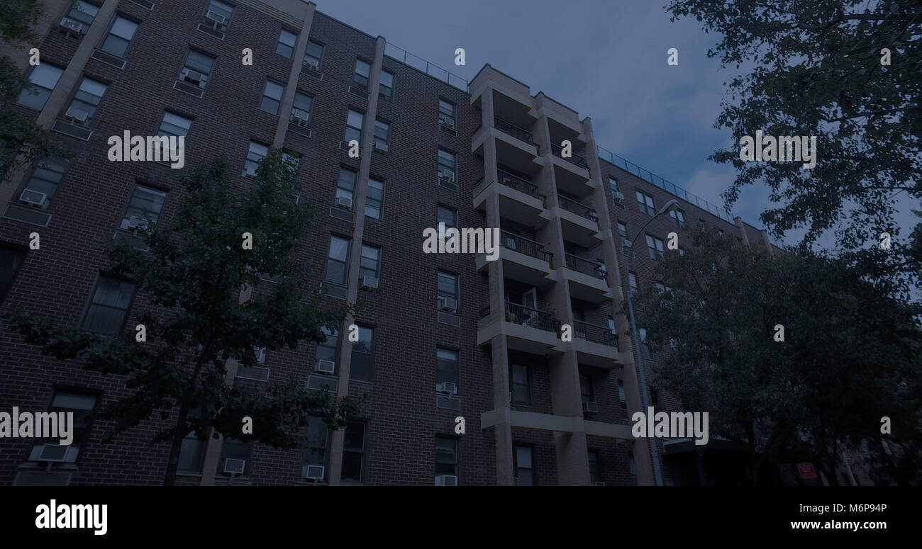 Night Time Exterior Generic New York City Style Apartment Building