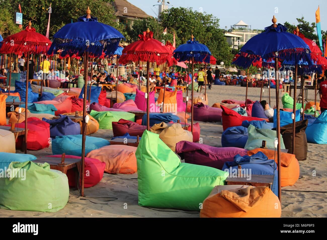 Bali, Indonesia - November 12, 2015: A colorful beach bar in Canggu Beach north of Seminyak - Stock Image