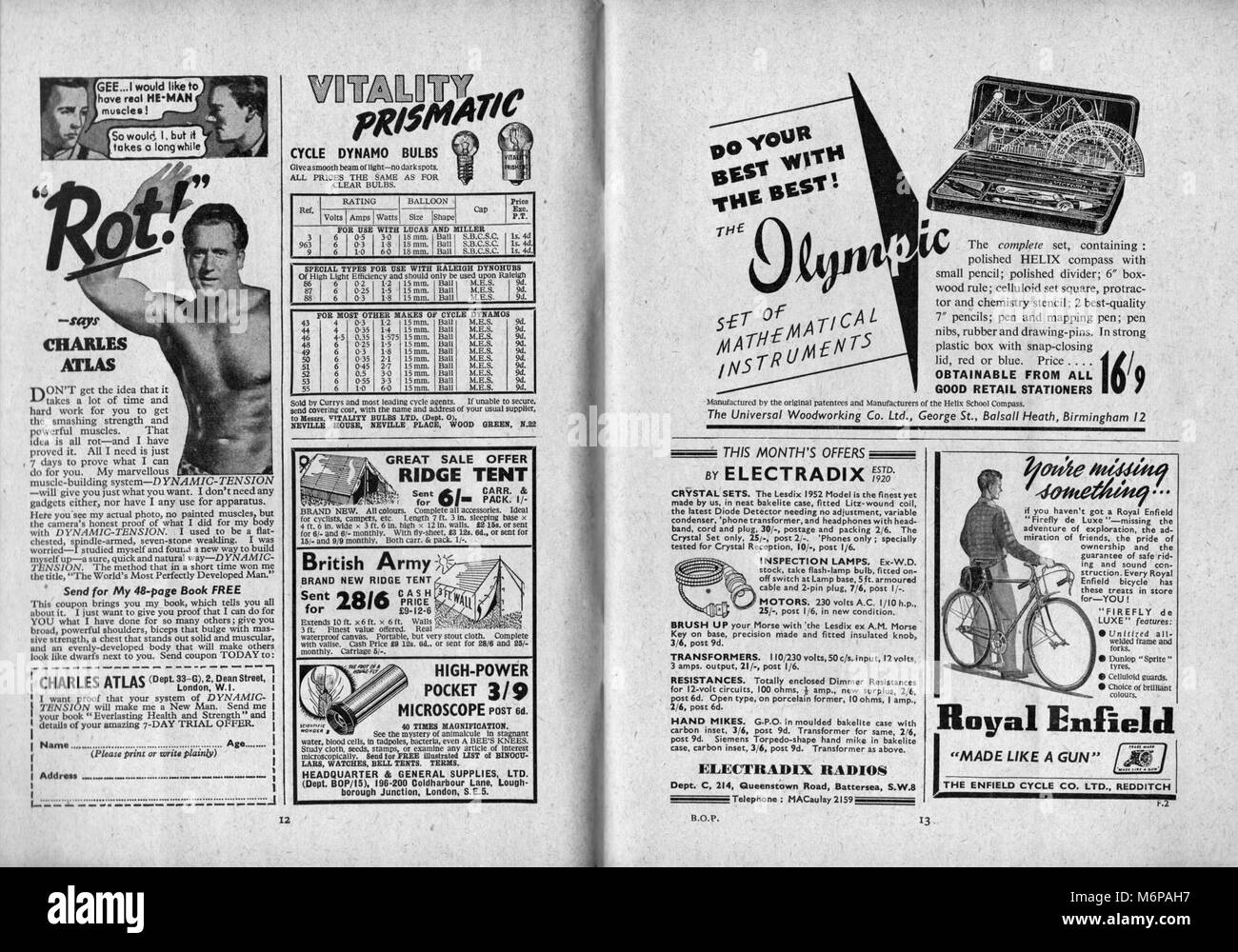 1950's adverts from the Boy's Own Paper. - Stock Image