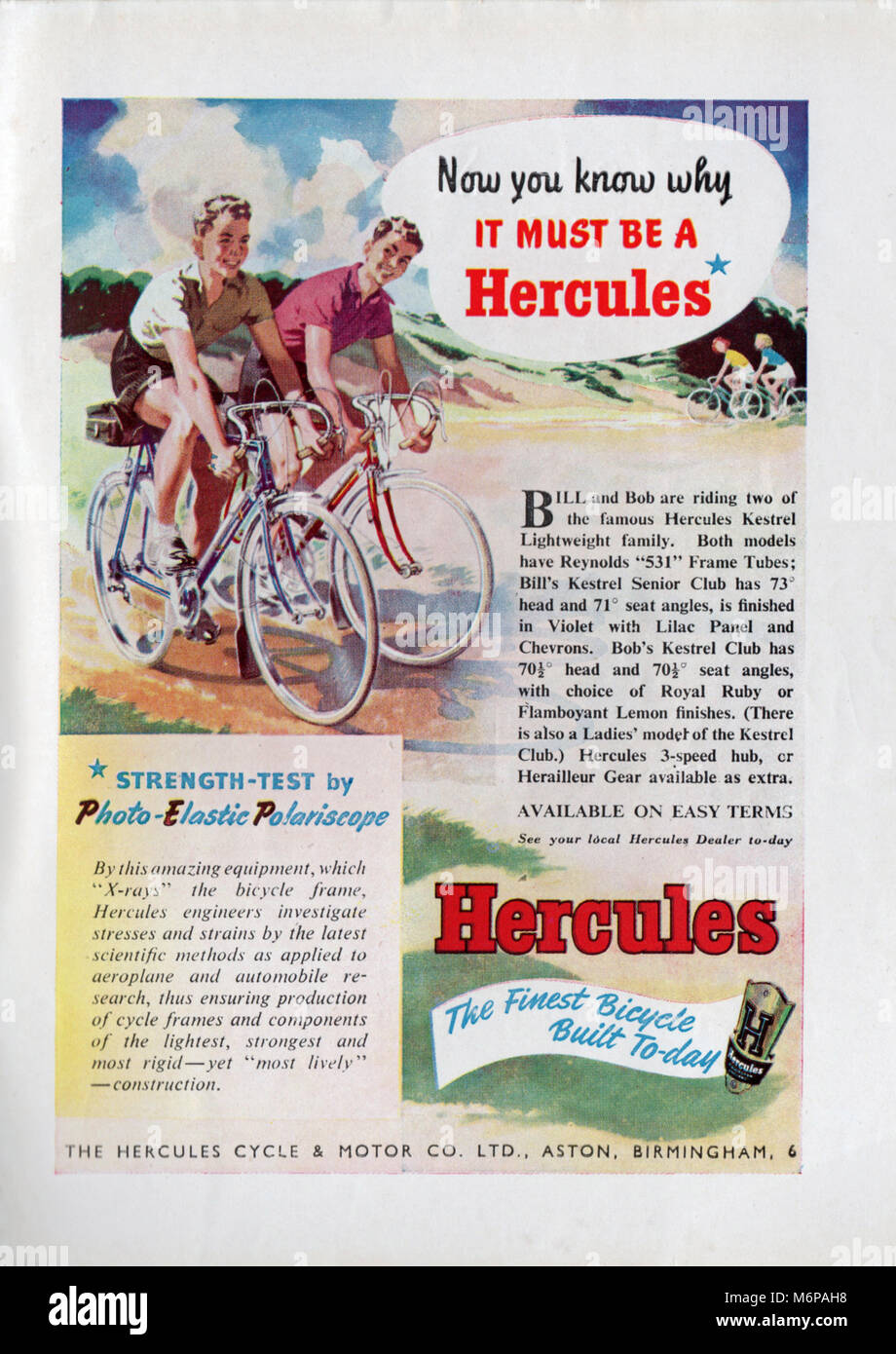 1950's advert for Hercules bicycles from the Boy's Own Paper. - Stock Image