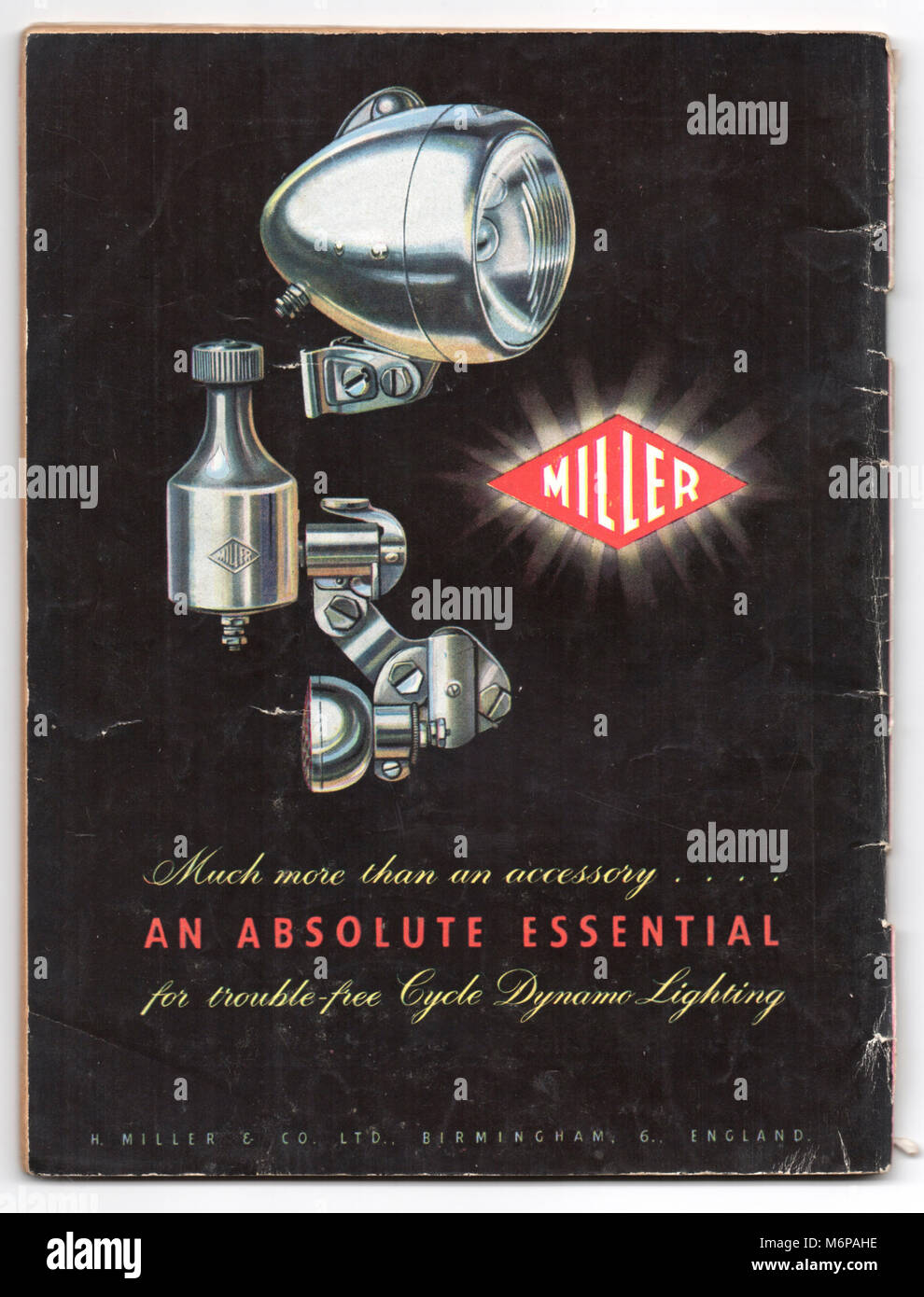 1950's advert for Miller Cycle Dynamo Lighting from the Boy's Own Paper. - Stock Image