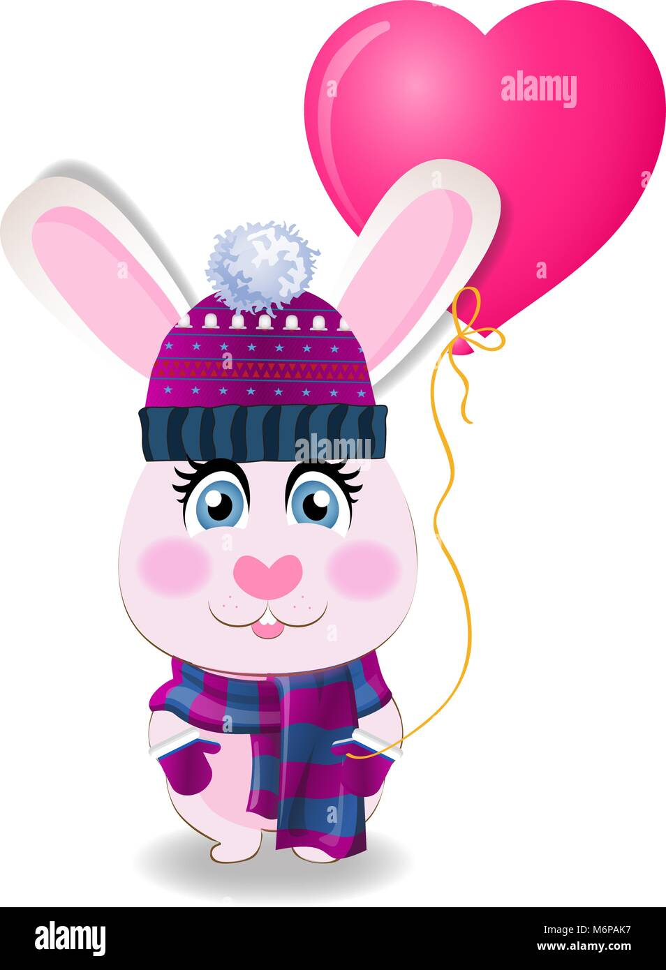 Cute pink baby rabbit in knitted hat, scarf and mittens holding rose heart shaped helium balloon isolated on white - Stock Image