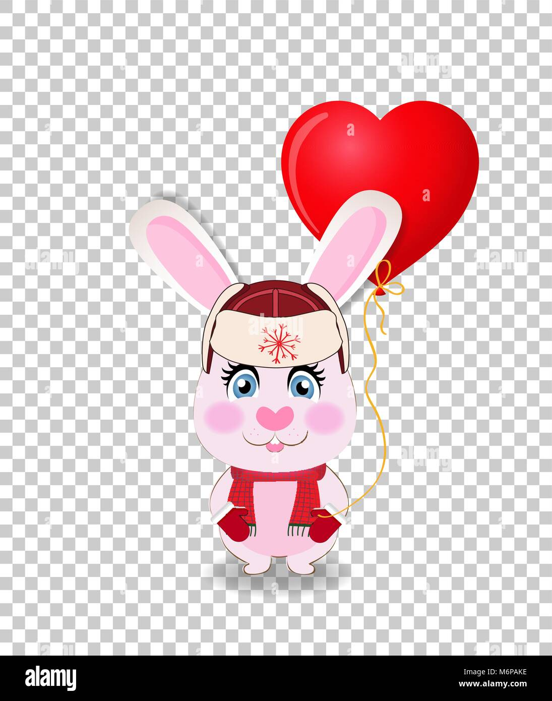 Cute cartoon rabbit in red hat with ear flaps, knit scarf and mittens holding red heart shaped balloon isolated - Stock Image