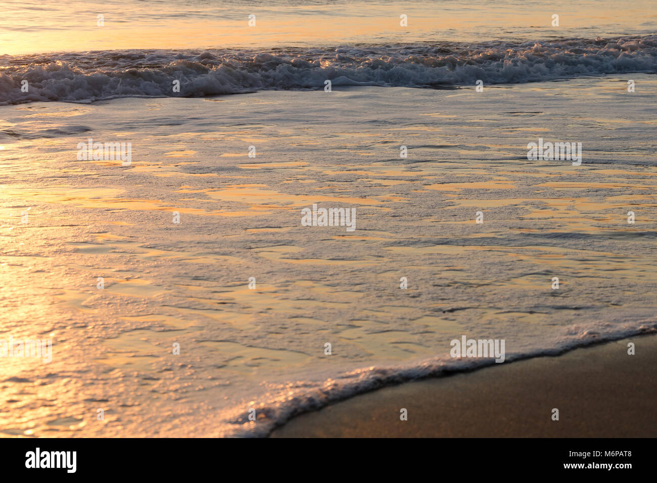 Seascape background with golden colored gentle breaking sea waves lapping on the beach at sunrise - Stock Image