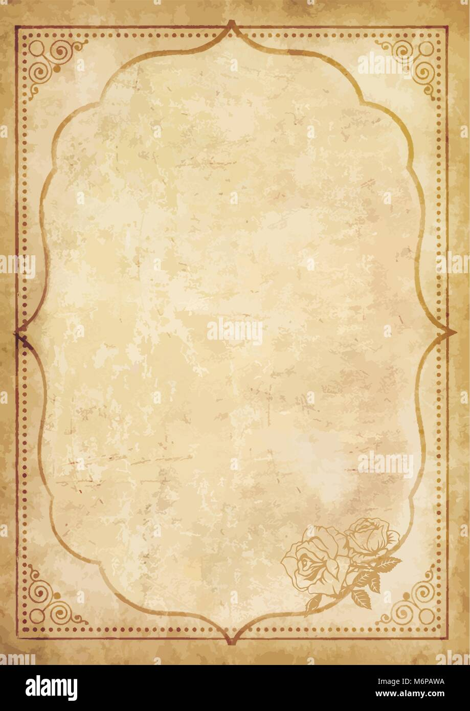 Old grungy vintage paper blank with curly oriental frame ornament and lovely rose flower in the corner. Worn template - Stock Image