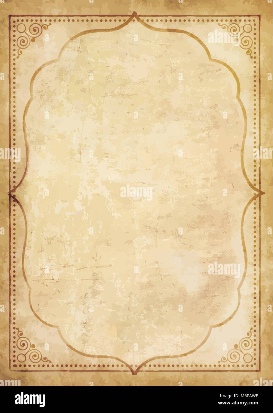 Old grungy vintage paper blank with curly oriental frame ornament. Worn papyrus template for mail, aged letter paper - Stock Image