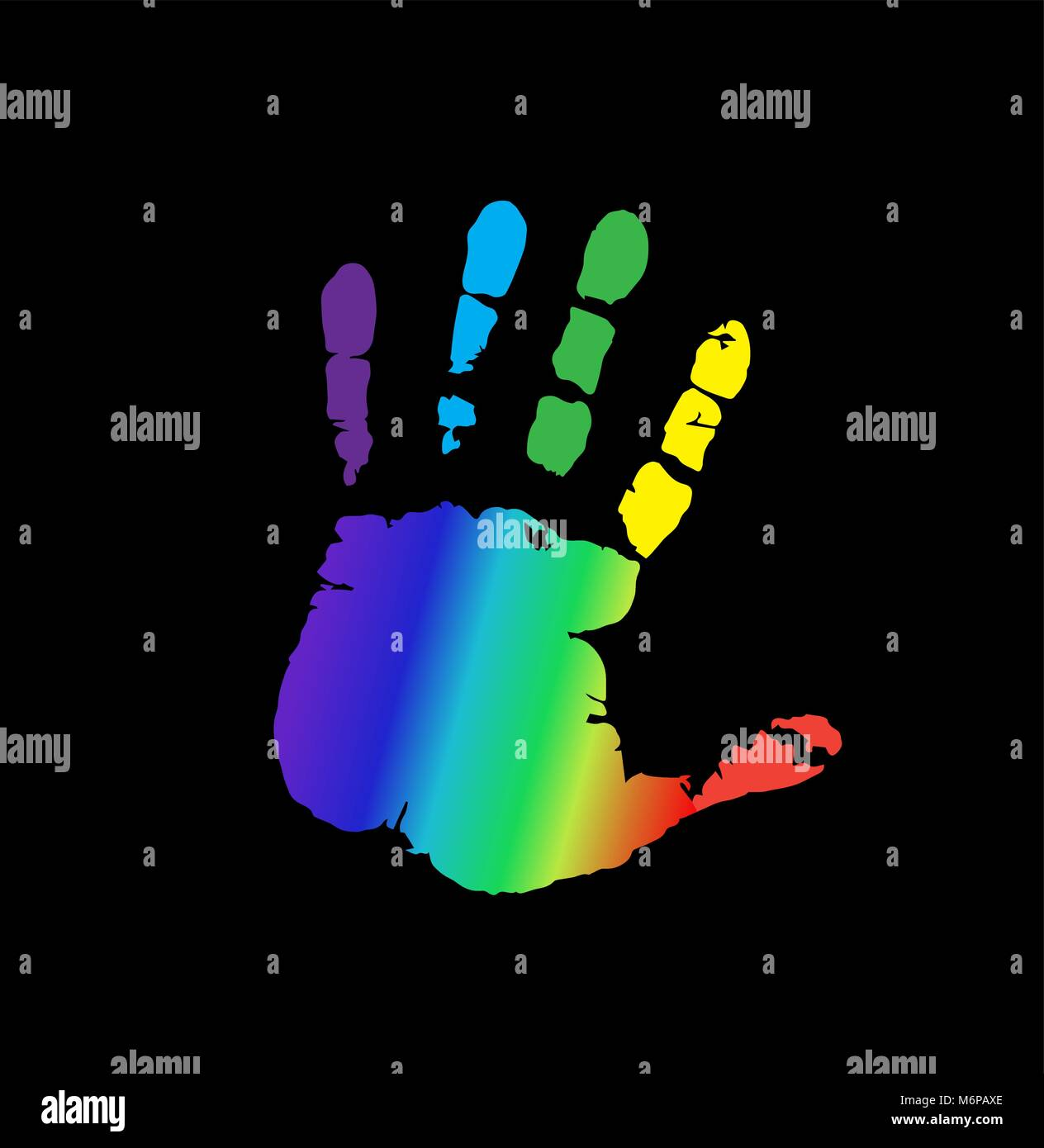 Rainbow multicolored silhouette of human hand print isolated on black background. Vector colorful illustration of - Stock Vector