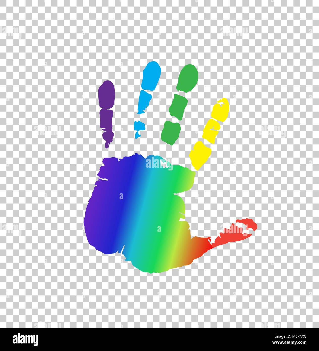 Rainbow multicolored silhouette of human handprint isolated on transparent background. Vector bright illustration - Stock Vector