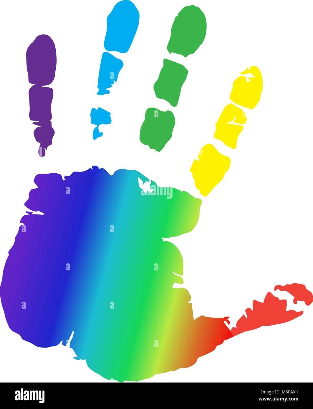 Rainbow multicolored silhouette of human hand print isolated on white background. Vector vibrant illustration of - Stock Vector