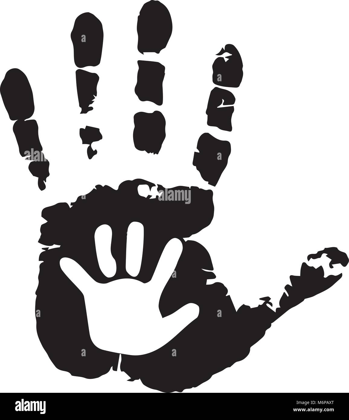 Black and white silhouette of adult and baby hands on white. Mother or father and child handprint. Palm of man and - Stock Image