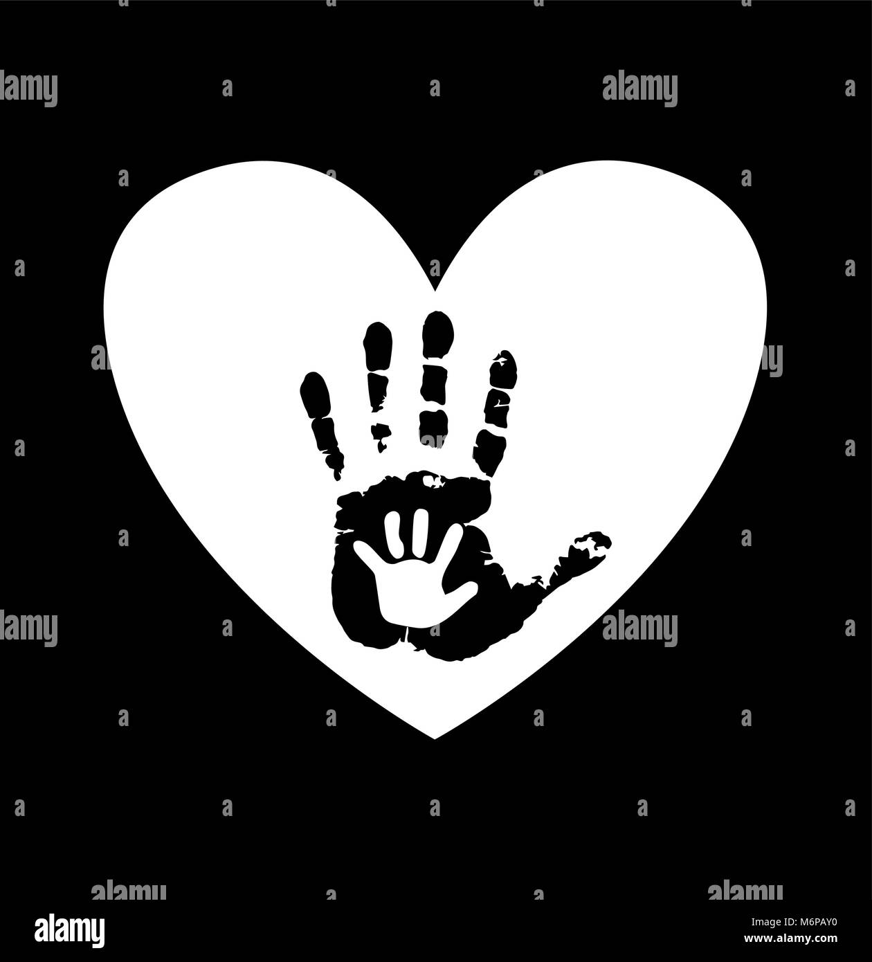 Black And White Silhouette Of Adult Baby Hands In Heart Mother Or Father Child Handprint Palm Parent Social Illustration Idea O