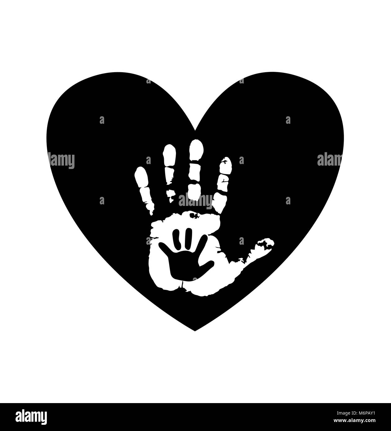 Black and white silhouette of adult and baby hands in heart. Mother or father and child handprint. Palms in heart - Stock Vector