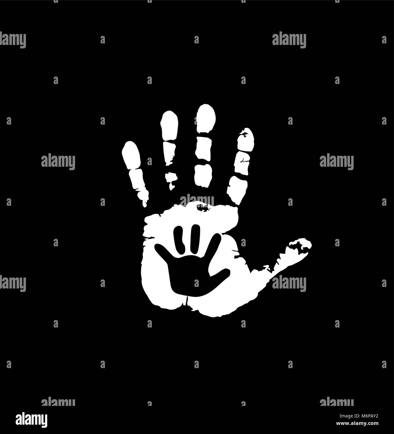 Black and white silhouette of adult and baby hands in heart. Mother or father and child handprint. Palm of woman - Stock Vector